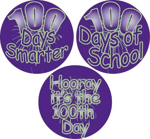 C Assorted '100 Days' Teacher School Stickers, 2-1/2-Inch, Purple/Green, Roll of 100 (100th Day Of School Stickers)