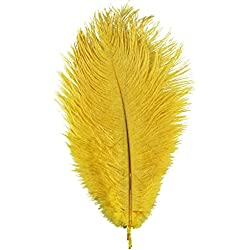 AWAYTR Natural 8-10 inch(20-25cm) Ostrich Feathers Plume for Wedding Centerpieces Home Decoration Yellow-10Pcs