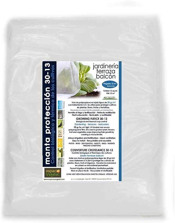 hortalizas y frutas. flores Medidas 2,5 x 5m Plegada de 13m/² MALLA ANTIHELADA 30gr Protege de bajas temperaturas los cultivos de plantas