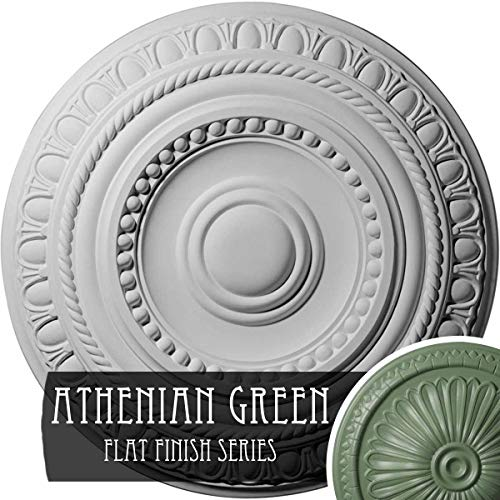 "Ekena Millwork CM15ARAGF 15 3/4"" Od X 1 3/8"" P Artist (Fits Canopies Up to 6 7/8""), Hand-Painted Ceiling Medallion, Athenian Green"