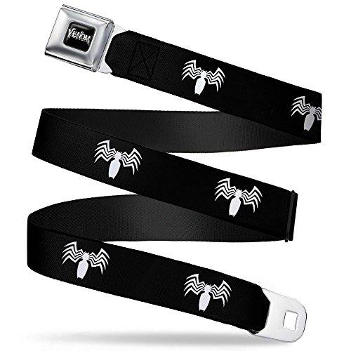 (MARVEL UNIVERSE VENOM Full Color Black/White Seatbelt Belt - Venom Spider Logo Black/White Webbing REGULAR)