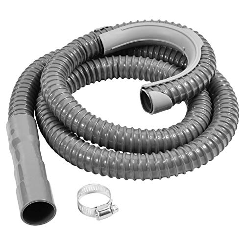 "Price comparison product image Washing Machine Drain Discharge Hose – Commercial grade Polypropylene with Universal Connection for 1"",  1 1 / 8"" and 1 1 / 4"" Drain Outlets Includes Hose Clamp and Saddle Hook (8 ft)"