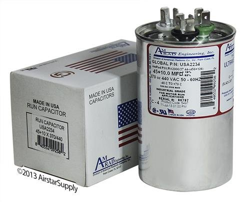 (Proline C4DR4510 Replacement - 45 + 10 uf / Mfd 370 / 440 VAC AmRad Round Dual Universal Capacitor , Made in the U.S.A.)