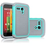 moto g gen 1 case - Motorola Moto G Case, Moto G 1st Gen Case, Tekcoo(TM) [Tmajor Series] Shock Absorbing Hybrid Rubber Plastic Impact Defender Rugged Slim Hard Case Cover for Moto G 3G / 4G LTE (Turquoise/Grey)