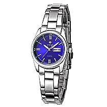 Women Fashion Stainless Steel Watch Date Day Clock Quartz Watch Luminous Watch Wrist watch Ladies Watches(white)