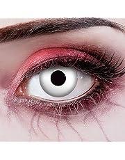 aricona Kontaktlinsen Kleurlenzen UV-contactlenzen wit voor zombiekostuum Halloween make-up