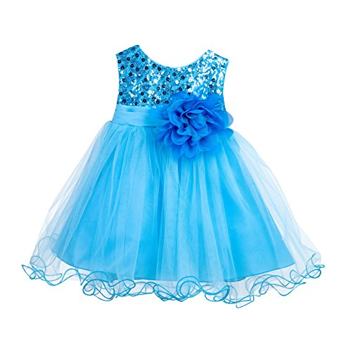Wedding Glitter Sequin Tulle Flower girl Dress Toddler Baby Recital Graduation Easter Pageant Birthday B-011NF
