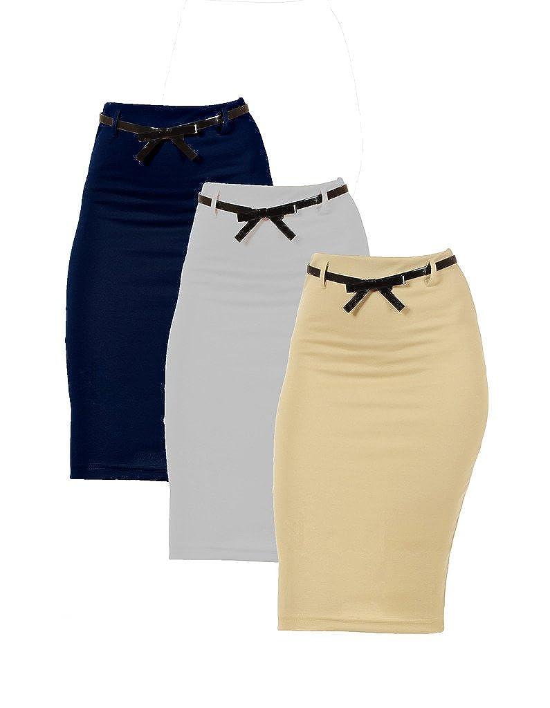 Dinamit Jeans 3 Pack Womens High Waist Below Knee Pencil Skirt 3PCK-KV08TL-Pencil-LGreyNavyKhaki-S