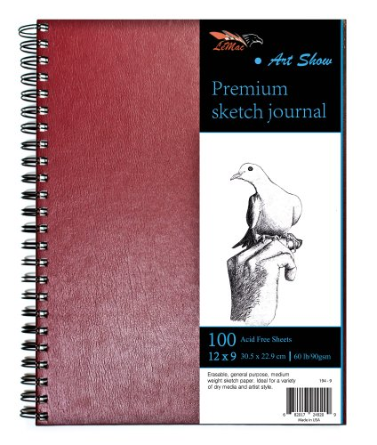 Art Show - Draw Anywhere Without a Desk - Genuine Ultra Rigid Hardcover Gives All The Drawing Support You'll Need - Spiral Sketch Pad -100 Sheet Burgundy Sketchbook - 9x12 inches