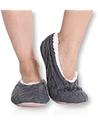 Ladies Cable Knit Slippers – Ballet Style Non-Skid - women girls