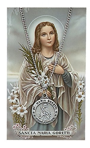 Adult Pewter St. Maria Goretti Medal Necklace,18