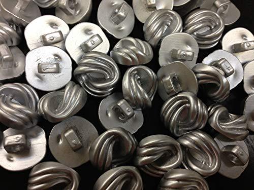 ShopForAllYou Buttons Craft Sewing 50 Swirl Design Buttons Matte Silver Shank Base 1/2