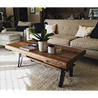 Reclaimed Wood Farmhouse Coffee Table with Flatiron Legs and Shelf - 2 Sizes