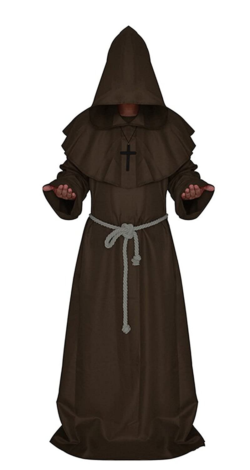 H&ZY Medieval Friar Monk Robe Cosplay Halloween Hooded Cape Unisex Costume Cloak