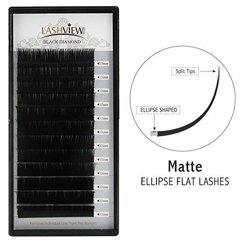 LASHVIEW SUPER MATTE Flat Mink Black Ellipse Eyelash Extensions Semi-permanent Individual Black Silk Lashes Extremely Soft Application-friendly Lashes for Professional Salon Use 0.15mm C Curl 13mm ()