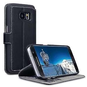 S7 Galaxy Carcasa, Terrapin Premium de reserva de cuero para Samsung Galaxy S7 Funda de piel sintética con tapa