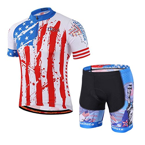 BIYINGEE Men's Cycling Jersey Shorts Sets Short Sleeve with Reflective Stripe US Flag Size XXXL(CN) ()