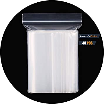25 X 35CM 9.84 X 13.77 HVDHYY Clear Plastic Reclosable Zip Poly Bags with Resealable Lock Seal Zipper Ziplock Bag 48PCS More Sizes Available