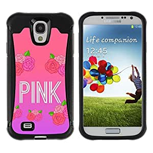 LASTONE PHONE CASE / Suave Silicona Caso Carcasa de Caucho Funda para Samsung Galaxy S4 I9500 / Pink roses music artist text love