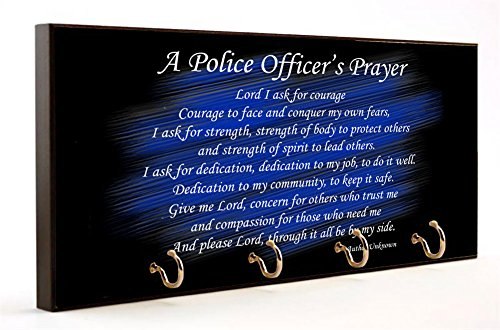 A Police Officer's Prayer Wooden Key Hanger by Brotherhood
