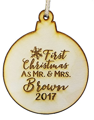 Wedding Collectibles Personalized Our First Christmas Ornament (2019) Snowflake Custom Mr. and Mrs. Couples Tree Hanger | Vintage Birchwood Craftsmanship | Classic Collectible Keepsakes & Heirlooms