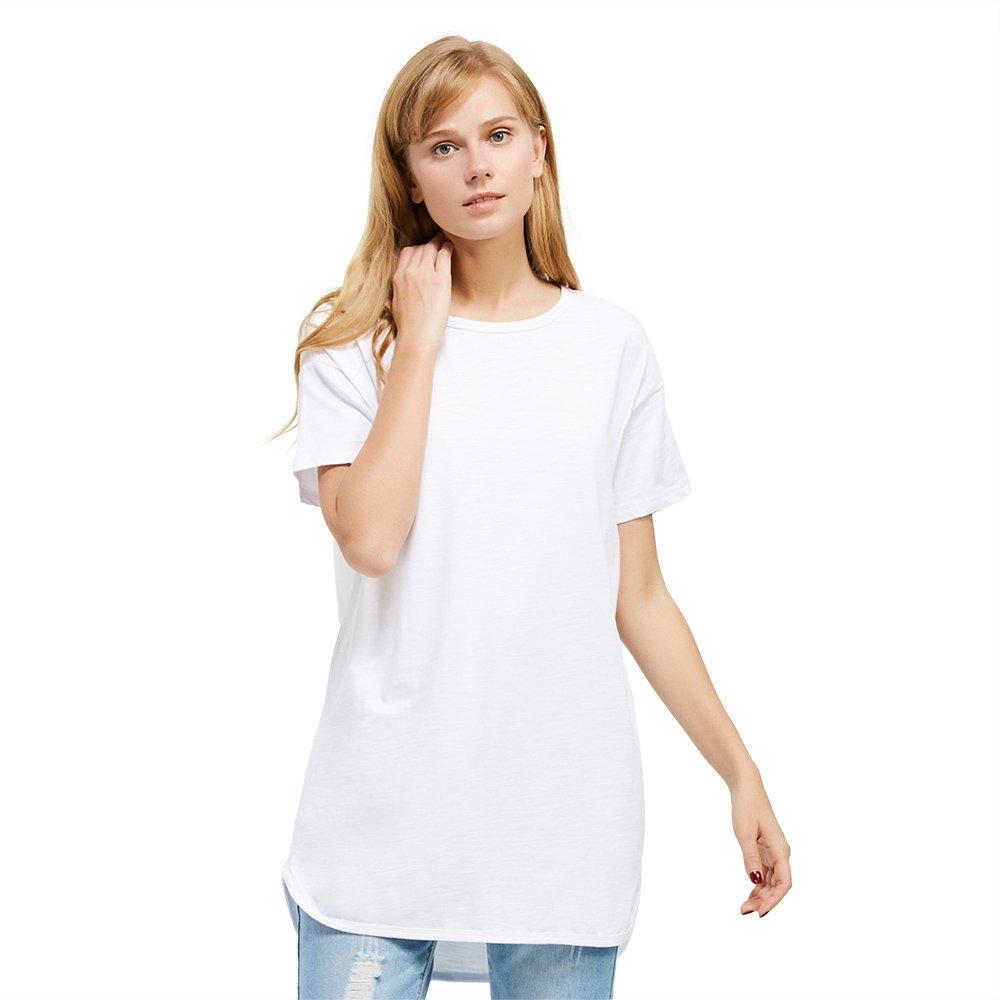 ZAN.STYLE Women's Plus Size Slub Cotton Tunic Tee Shirt Long T Shirt for Leggings Small Style 1-White