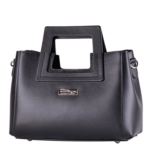 Italy Borsa BORDERLINE da LIDIA rigida Pelle in Nero Vera Made in 100 Donna qFFxwIpt