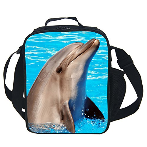Briefcase Dolphin - CARBEEN 3D Animal Dolphin Lunch Bag Insulated Lunch Box Cooler Bag
