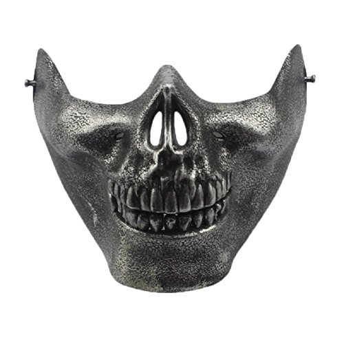 [So Beauty Skeleton Mask Half Face Warrior Face Masks Actual Comba Halloween Party Costume Decorations(Dark] (Halloween Costumes Gallery)
