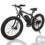 """ECOTRIC 26"""" Electric Fat Tire Bike Aluminum Frame Beach Snow Bicycle ebike 500w 36V/10Ah Electric Moped (Black)"""