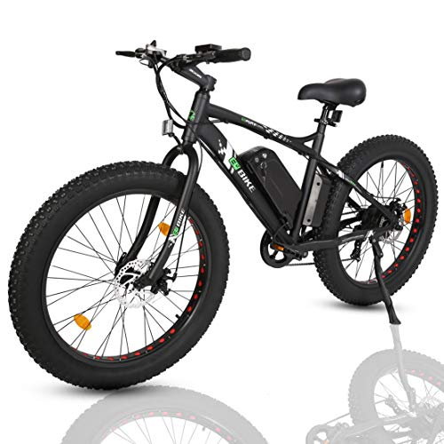 ECOTRIC 26 Electric Fat Tire Bike Aluminum Frame Beach Snow Bicycle ebike 500w 36V/10Ah Electric Moped (Black)