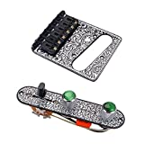 MagiDeal 1 Set Loaded Prewired Control Plate Harness Switch Knobs&Tremolo Bridge for Tele TL Guitar - Black