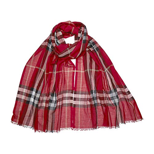 - Burberry Lightweight Check Wool and Silk Scarf - Parade Check