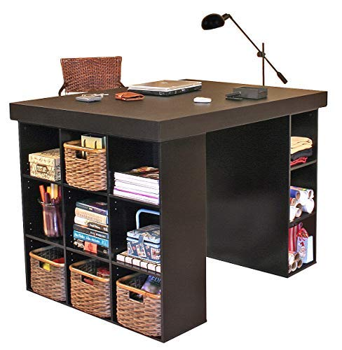 Venture Horizon Project Center Desk with Bookcase and 3 Bin Cabinet-Black