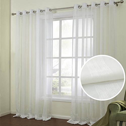 Stripe Multi Single (Dreaming Casa Semi Sheer Curtain Modern Multi Stripe Voile Drape 96 Inches Long Window Treatment 72