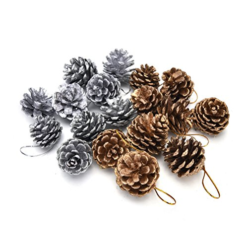18 PCS Snow Tipped Natural Pine Cones Pendant Hanging Ball for Christmas Thanksgiven Party Decorating(Gold and ()