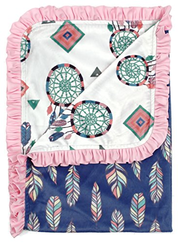 Dear Baby Gear Deluxe Reversible Baby Blankets, Custom Minky Print Feathers and Dream Catchers, 38 Inches by 29 Inches - Minky Toddler Car Seat Cover