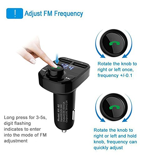 FM Transmitter Wireless Bluetooth FM Transmitter Car Kit Radio Adapter Receiver 4.2A USB Car Charger MP3 Music Player Read Micro SD Card USB Flash Drive and Battery Voltage by JINSERTA (Image #2)
