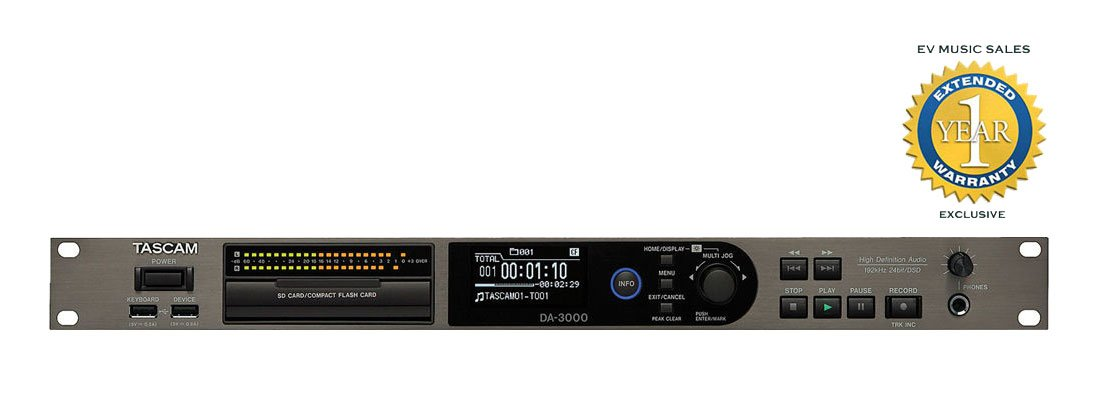 Tascam DA-3000 Stereo Master Recorder and ADDA Converter with 1 Year Free Extended Warranty
