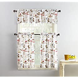 "No. 918 Brew Coffee Print Microfiber 3pc Kitchen Curtain Set, 54"" x 36"", White"