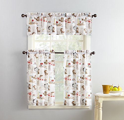 (No. 918 Brew Coffee Print Microfiber 3-Piece Kitchen Curtain Set, 54
