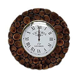 Hand Crafted Sliced Wooden Log Decorative Wall Clock | Premium Wall Decor Accents | Hind Handicrafts (Teak Wood) (Round)