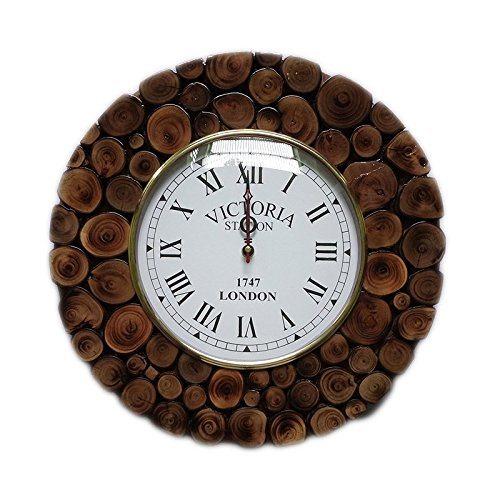 Hind Handicrafts Hand Crafted Sliced Wooden Log Decorative Wall Clock | Premium Wall Decor Accents (Teak Wood) (Round) Sliced Log