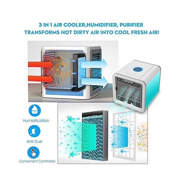 CDPL Express Mini Portable Air Mini Cooler Fan 3 in 1 Personal Space Cooler Conditioner, Humidifier and Purifier
