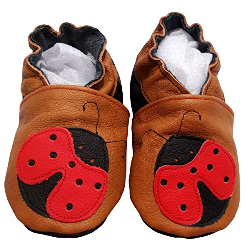 """""""koxi 2de bbkdom- Zapatillas Bebé y niños en piel suave de calidad superior fabricación Europea de 0–5años marrón Talla:Pointures 17-18 (0 à 6 mois) marrón"""