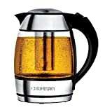 Chefman Electric Cordless Glass Tea Kettle with FREE Included Tea Infuser LED Lighting, Perfect Steep and Auto-Shutoff Safety Feature, 1.8 Liter/1.9 Quart