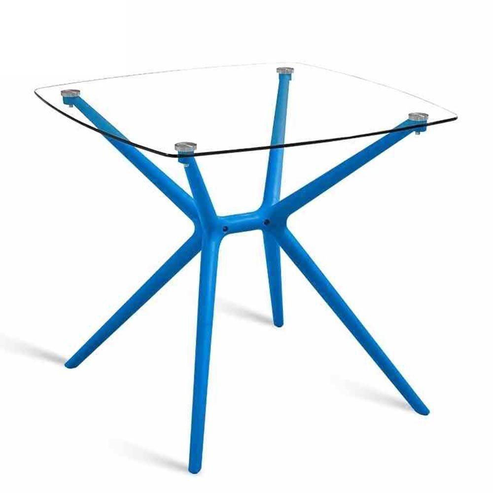 XIAOLIN シンプルなパーラーテーブル屋外の強化ガラステーブルカフェカジュアルスクエアテーブルプラス粗いプラスチック足強化ガラス防水日保護オプションの色 (色 : Blue) B07F5K1B6K Blue Blue