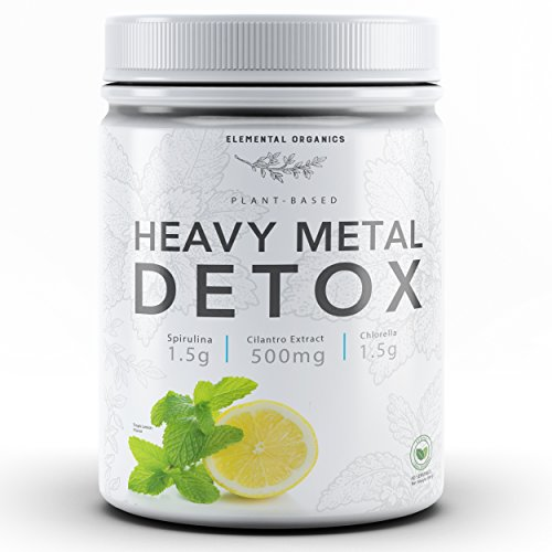 Elemental Organics Heavy Metal Detox, 40 Servings, Contains Cilantro Extract, Broken Cell Wall Chlorella, and Spirulina, Naturally Flavored Tropical Limeade