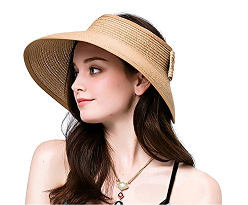 Women Summer Roll Up Packable Wide Brim Sun Visor Straw Hat Beige