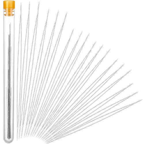30 Pieces 6 Size Beading Needles Big Eye Beading Needles Beading Embroidery Stainless Needles with White Needle Bottle for Jewelry Making